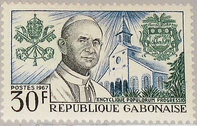GABON GABUN 1967 278 217 Pope Paul VI Arms Libreville Cathedral Religion MNH