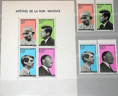 GABON GABUN 1969 321-24 Block 11 C78-C81a M. Gandhi JFK Kennedy Luther KIng MNH