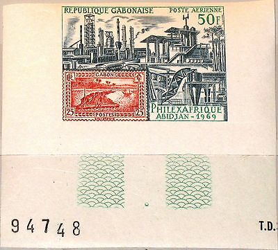 GABON GABUN 1969 325 U C82 PHILEXAFRIQUE Abidjan Exhibition stamp on stamp MNH