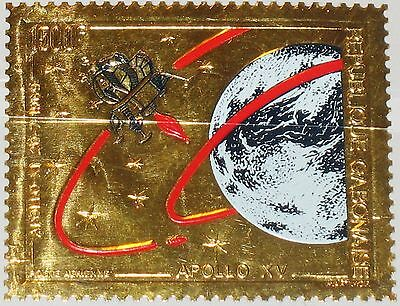 GABON GABUN 1971 445 C119 Gold Foil Apollo 11 & 15 Moon Mission Space Weltraum**