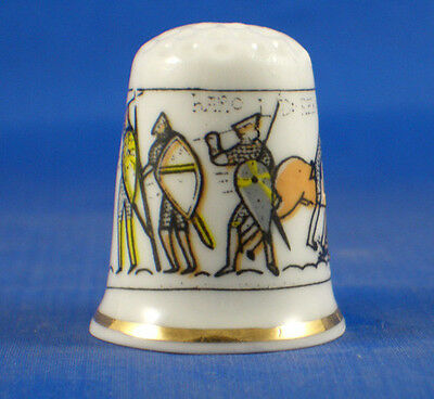 Porcelain Commemorative Thimble - Bayeux Tapestry -  Free Gift Box