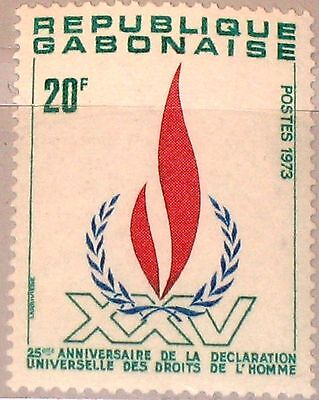 GABON GABUN 1973 522 329 Human Rights Flame Menschenrechte 25th Declaration Ann