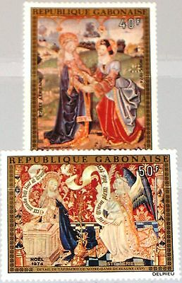 GABON GABUN 1974 547-48 C157-58 Christmas Weihnachten Religion Paintings Art MNH