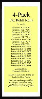4-pack of KX-FA91 Fax Refills for Panasonic KX-FP205 KX-FP206 KX-FP207 KX-FP208