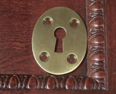 "Keyhole Lock oval Escutcheon plate old cast brass 2 1/16 x 1 9/16"" skeleton key"