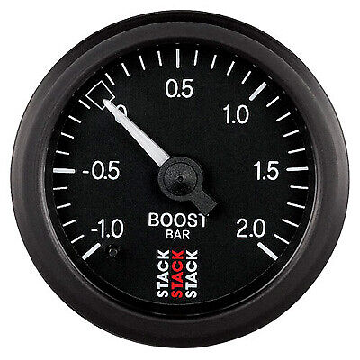 Stack Turbo Boost Pressure Mechanical Gauge -1.0 TO 2.0 BAR - Black