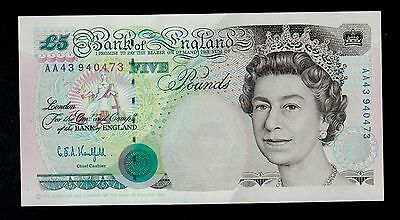 GREAT BRITAIN  5  POUNDS  1990  AA PICK # 382b  UNC  BANKNOTE.