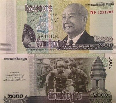 Cambodia 2013 2000 Riels Uncirculated Banknote P-New Buy From A Usa Seller !!!!!