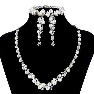 Bridal Pearl Necklace Earring Bracelet Set Rhinestone Crystal Bridesmaid -E699
