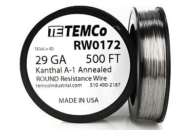 TEMCo Kanthal A1 wire 29 Gauge 500 Ft Resistance AWG A-1 ga