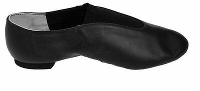 cp05c child capezio show stopper split sole leather jazz shoes pull on new