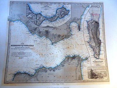 Von A. Peter Mann Map of Gibraltar Lithographed from the Original Antique Map