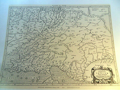 17th Century Map of Asia & India Lithographed from the Original Antique Map