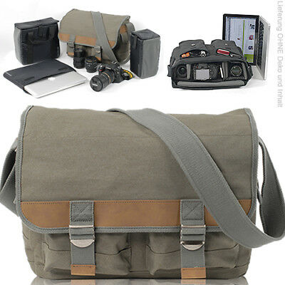 NEU Canvas Fototasche CULLMANN DSLR Kamera Video DARWIN 425+ Laptop Tasche BEIGE