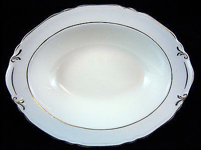 """Crown Potteries Co 9.5"""" Oval Serving Vegetable Bowl Gold Trim Scalloped Edge"""