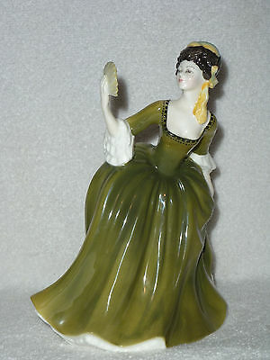ROYAL DOULTON Simone HN2378 Girl In Green Dress & Fan Figurine COPR 1970 Retired