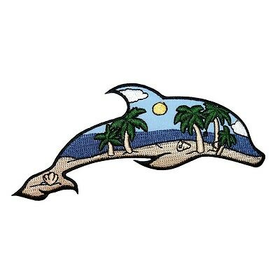 ID 1694 Beach Scene Dolphin Patch Ocean View Craft Embroidered Iron On Applique