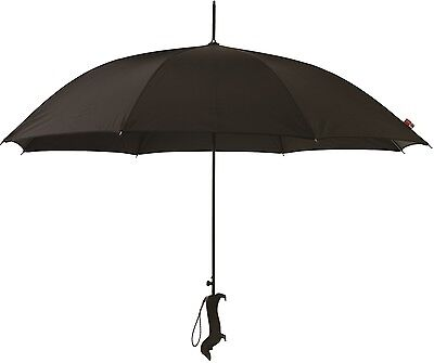 Silhouette Black Dog Handle With Diamante Gems Automatic Opening Stick Umbrella