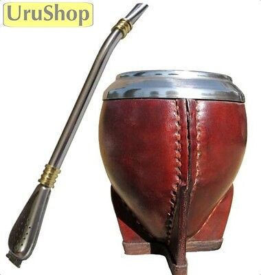 K25 Luxury Leather Gourd & Stainless Steel Bombilla Set To Drink Yerba Mate