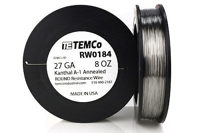 TEMCo Kanthal A1 wire 27 Gauge 8 oz (1020 ft) Resistance AWG A-1 ga