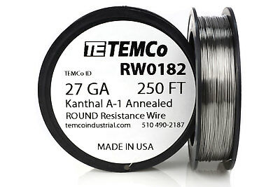 TEMCo Kanthal A1 wire 27 Gauge 250 Ft Resistance AWG A-1 ga