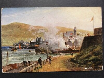 Shetland: Lerwick c1910 Artist View of Town & Harbour Entrance by S.Hildesheimer