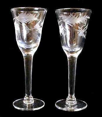 Two Small Delicate Vintage Stemmed Cut Glass Cordial Liqueur Glasses Flower/Leaf