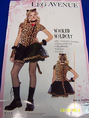Wicked Wildcat Leopard Cheetah Cat Fancy Dress Up Halloween Teen Costume  sc 1 st  PicClick & CHEETAH PRINT BODYSUIT Wild Cat Costume Halloween Fancy Dress ...