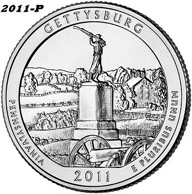 2011-P *GETTYSBURG* BU NATIONAL PARK QUARTER - $5 MINIMUM ORDER APPRECIATED