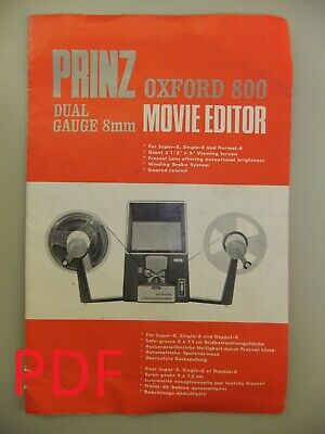 Instructions cine movie editor PRINZ OXFORD 800 super8 UK German French-CD/Email