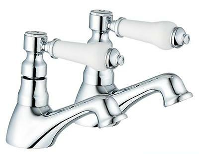 Hot & Cold Bath Taps 1/4 Turn Antique Victorian Style Bathroom Chrome  (Swan 3)
