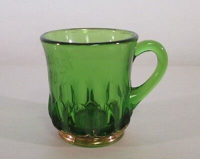 Antique EAPG Arched Ovals Concave Almond Souvenir Emerald Green Glass Cup Gold