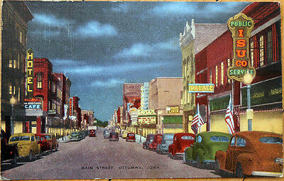1930s Postcard: Main Street, Downtown at Night - Ottumwa, Iowa IA