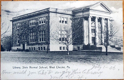 1906 Postcard: State Normal School Library - West Chester, Pennsylvania PA