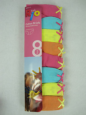 RIO Girls 8 Pack Cotton Briefs / Underwear size 4 - 6 Multi Colour