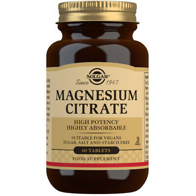 Solgar Magnesium Citrate- Available in 60 or 120 Tablets