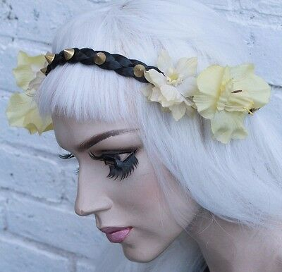 Yellow Gold Flower Crown Black Studded Hippy Pastel Festival Grunge Head Band