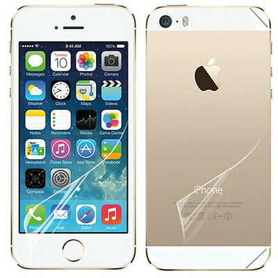 Set Of Clear Glossy Back And Clear Front Screen Protector For Apple iPhone 5S 5G