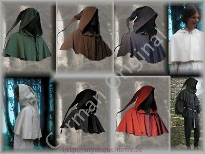 Medieval Cowl Long Pointed Hood German Gugel Renaisance SCA Larp 6 Colours Wicca
