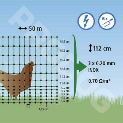 Filet cloture 12 hauteurs, VOLAILLE poule, long 50 m/hauteur 1,12m ELECTRIFIABLE