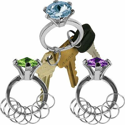 Silver Bling Diamond Ring Key Chain - Set of 3 - Colors Vary