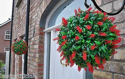 2 Best Artificial 30cm Lush Red Long Leaf Flower Topiary Grass Hanging Balls