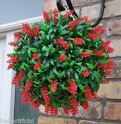 Best Artificial 30cm Red Lush Long Leaf Flower Topiary Grass Ball Hanging Basket