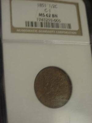 1851 BRAIDED HAIR HALF CENT 1/2 c BETTER DATE  NGC MS62 MS-62 TAKE A LOOK