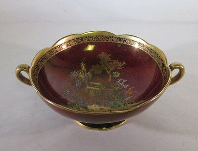 Vintage Carlton Ware Rouge Royal Cream Soup Cup / Candy Bowl w/ handles Red Gold