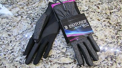 New Isotoner Gray Metallic Smartouch Gloves Womens Xs/S Texting Gloves Free Ship