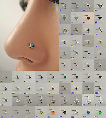 Sterling Silver 925 Nose Studs SHAPES Pins Rings womens jewelry ladies jewellery