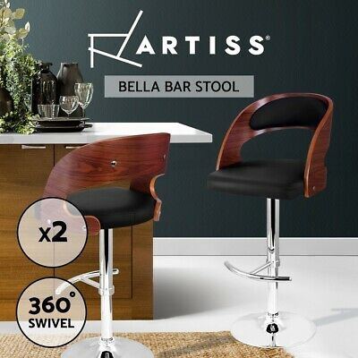 2X Wooden Bar Stool Barstool Kitchen Dining Chair Gas Lift Bella 8065 Black