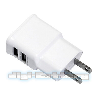 2-Port USB Charger Travel & Home AC Wall Plug Adapter for Samsung, HTC and more