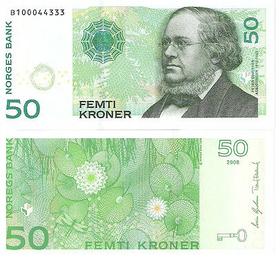 NORWAY 50 Kronor Banknote World Money UNC Currency Europe Note 2008 Bill Variety